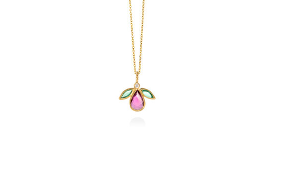 Christina Soubli Fly pendant 18ct yellow gold ruby emeralds diamond to shop marketplace