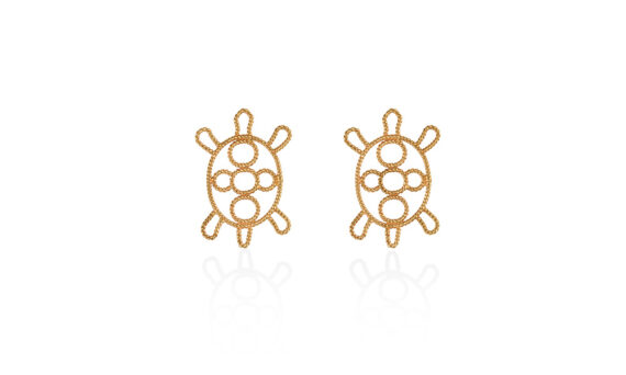Christina Soubli Turtle earring studs mounted on 18ct yellow gold to shop marketplace