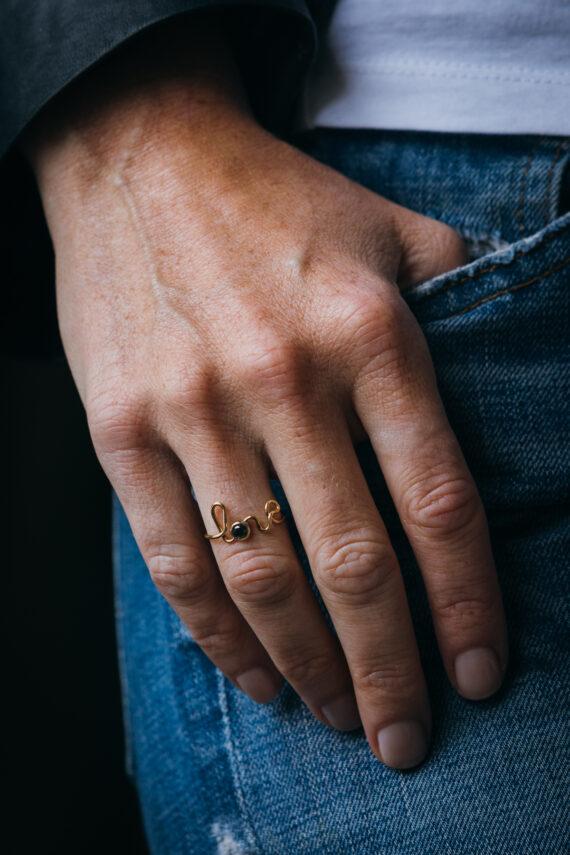 By Elia - Love ring with black diamond