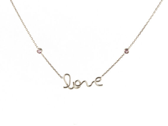 By Elia - Love necklace with pink sapphires set in white gold