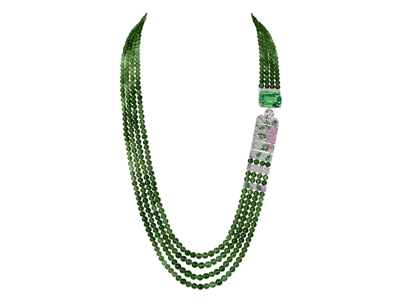 Chanel - Evocation Florale necklace mounted on white gold with green tourmalines, diamonds, pink sapphires and mint tsavorite garnet