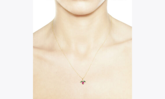 Christina Soubli Fly pendant with ruby and emeralds 18ct yellow gold