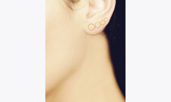 Christina Soubli Round ear climbers 18ct yellow gold