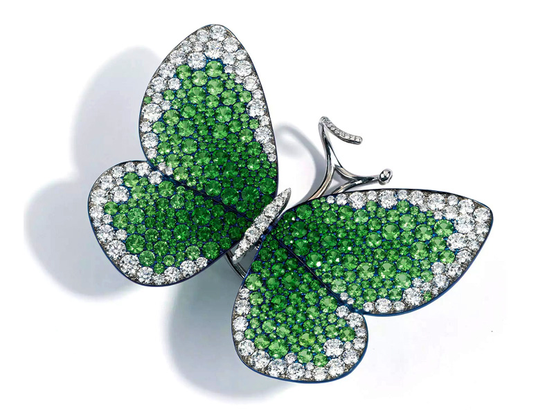 Glenn Spiro - Papillon ring made in blue titanium with tsavorites and diamonds
