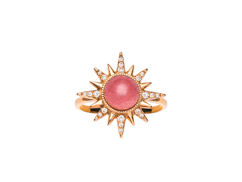 Jenny Dee Jewelry - Rubellite Electra Maxima Ring mounted on rose gold with rubellite and white diamonds available on The Eye of Jewelry Shop