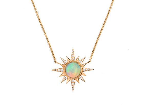 Jenny Dee Jewelry - Ethiopian Opal Electra Necklace mounted on rose gold. From the Pleiadee collection available online on The Eye of Jewelry store