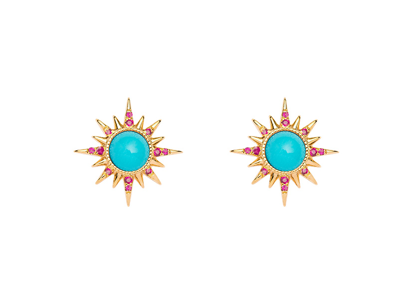 Jenny Dee Jewelry - Electra Earrings mounted on yellow gold with turquoises cabochons and rubies available on The Eye of Jewelry store