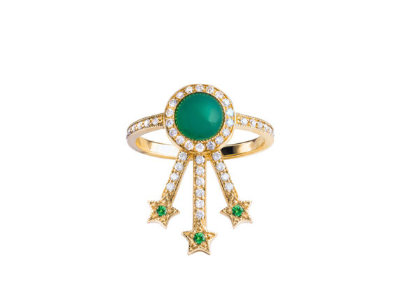 Jenny Dee Jewelry - Green Agate Alcylone Ring mounted on yellow gold with white diamonds. From the Pleiadee collection available online on The Eye of Jewelry store