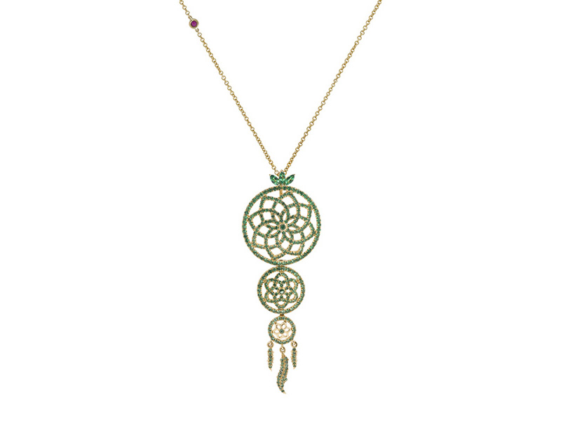 Laura Sayan - Pendentif Yeraz Dream Catcher serti de tsavorites vertes en or jaune. Disponible en ligne sur The Eye of Jewelry's Shop