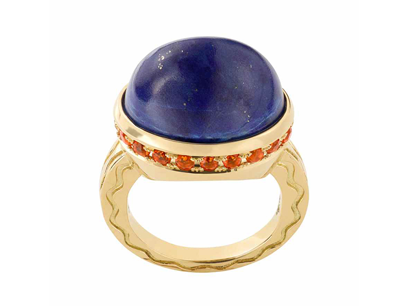 Misahara - Talas ring mounted on yellow gold with a lapis and fire opal