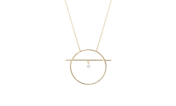 Persée Paris Fibule necklace 18ct yellow gold one diamond