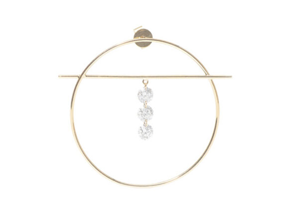 Persée Paris - Fibules 3 diamonds earring mounted on yellow gold