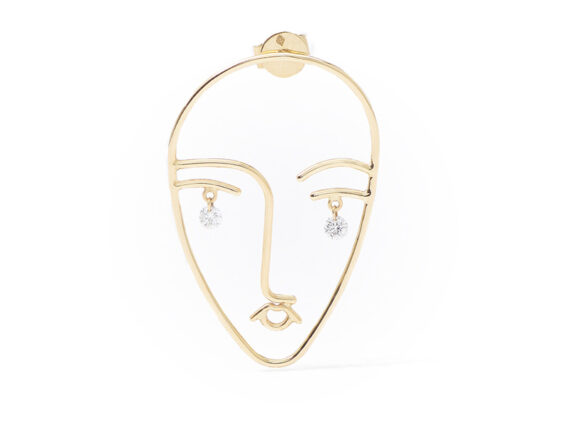 Persée Paris - Mama earring mounted on yellow gold with diamonds
