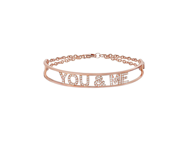 Spallanzani - Bracelet You & Me en or rose serti de saphirs blancs