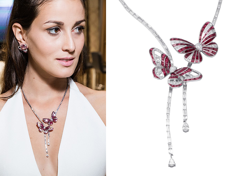 Stenzhorn - Butterfly Lovers Necklace with rubies and diamonds set in white gold