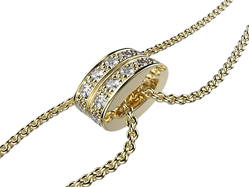 Victor Houplain Lien bracelet mounted on yellow gold set with diamond. Available online on The Eye of Jewelry's Shop