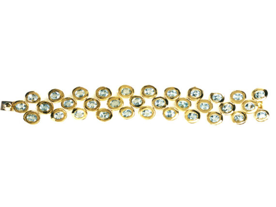 Aude Lechère - Bracelet mounted on yellow gold set with aquamarine