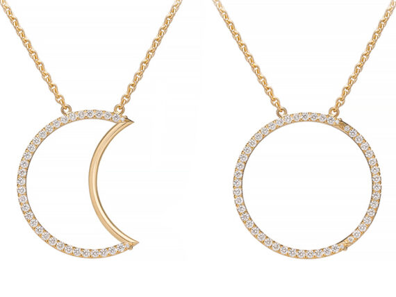 Caspita - Helios-Luna necklace mounted on yellow gold set with diamonds