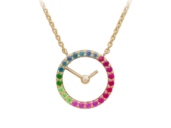Caspita - Horee Necklace mounted on yellow gold set with spinels, sapphires, tsavorites, green garnets and one diamond
