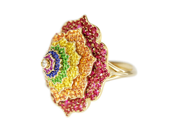 Caspita - Ring 7 Chakras Troubilon coloured stones mounted on yellow gold set with rubies, sapphires, amethysts and diamond