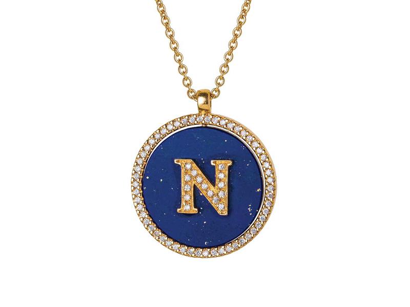 Jenny Dee Jewelry - Médaillon en or jaune serti de diamant et en lapis lazuli