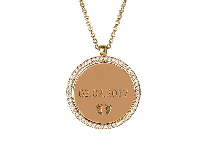Jenny Dee Jewelry - Médaillon en or jaune serti de diamants personnalisables