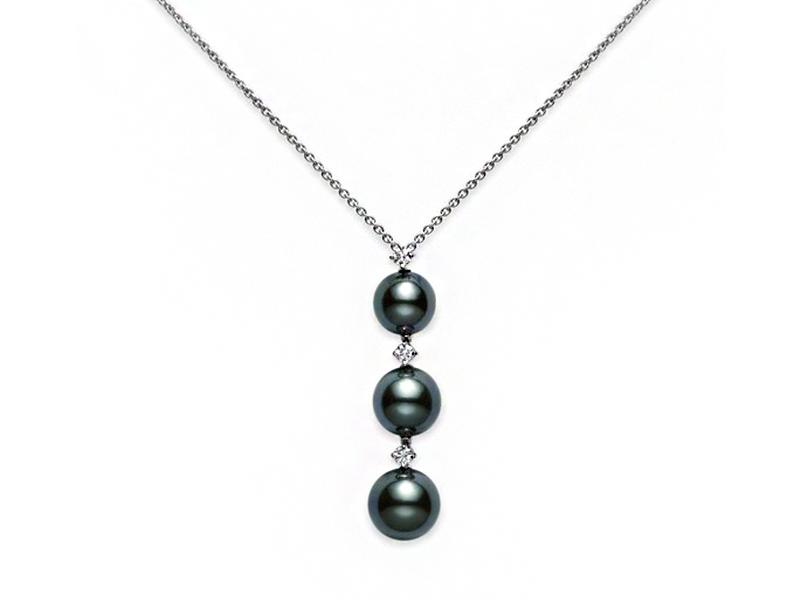 Mikimoto - Collier trois perles noires