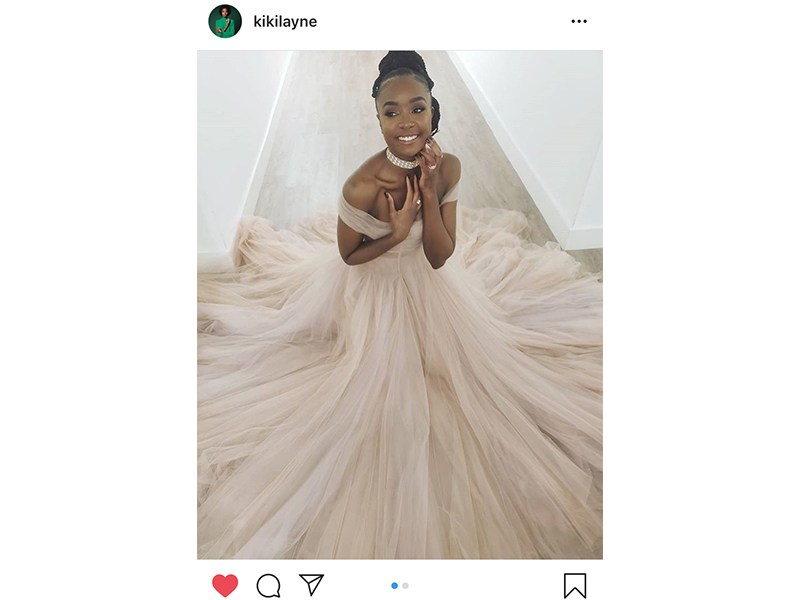 Bvlgari - Kiki Layne wore high jewelry mounted on rose gold set with diamonds. Golden Globes