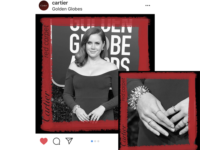 "Cartier - Amy Adams wore the new ""Les Galaxies de Cartier"" collection bracelet and earrings. Golden Globes 2019"