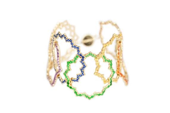 Caspita 7 chakras enchainés spinel bracelet 18k yellow gold