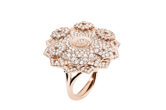 Caspita 7 Chakras Hypnotique diamonds ring 18k rose gold