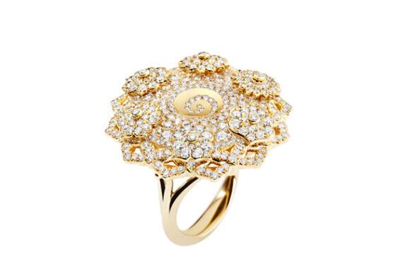 Caspita 7 Chakras Hypnotique diamonds ring 18k yellow gold