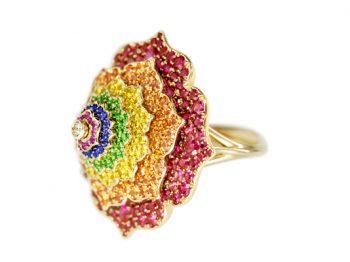 7 Chakras Tourbillon Colored Stones Ring