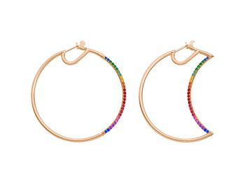 Helios-Luna Hoops half set with colored stones 50 mm