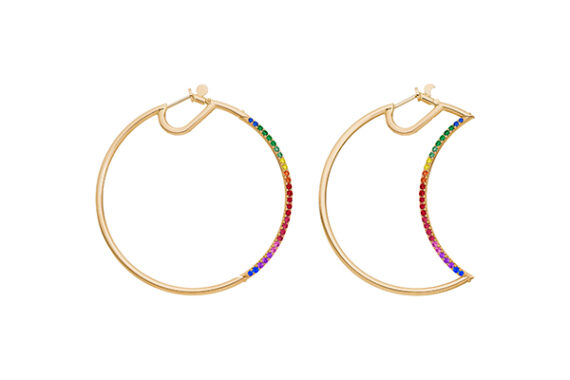 Caspita Helios-Luna Hoops half set with colored stones 50mm yellow gold