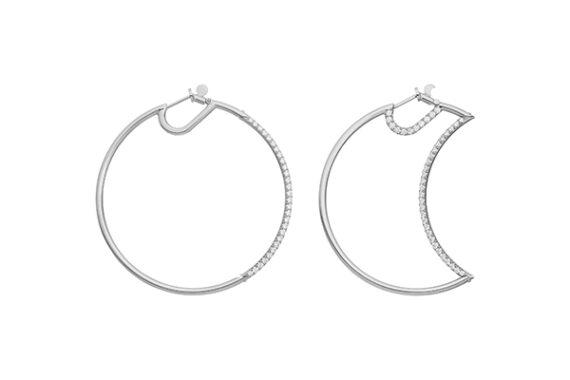 Caspita Helios-Luna hoops half set with diamonds 50mm white gold