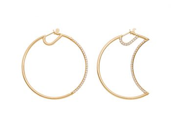 Helios-Luna Hoops half set with diamonds 50 mm