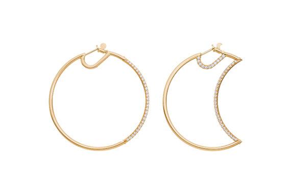 Caspita Helios-Luna hoops half set with diamonds 50mm yellow gold