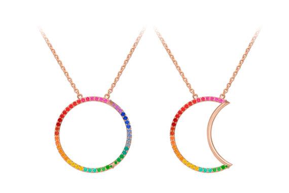 Caspita Helios-Luna Necklace 18k rose gold coloured stones 30 mm