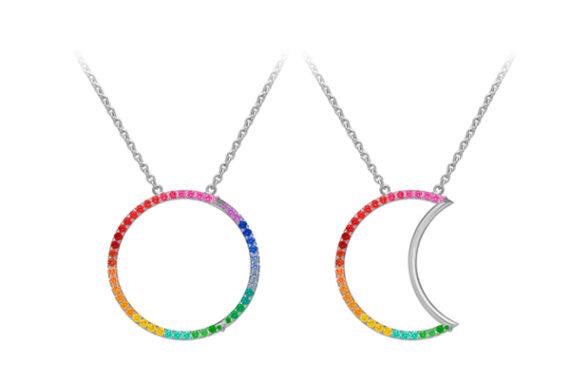 Caspita Helios-Luna Necklace 18k white gold coloured stones 30 mm
