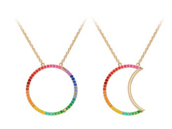 Helios-Luna Necklace set with coloured stones 30 mm