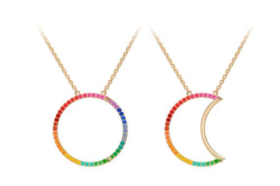 Caspita Helios-Luna Necklace 18k yellow gold coloured stones 30 mm