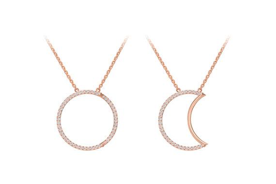 Caspita Helios-Luna necklace 18k rose gold diamonds 30 mm