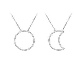 Helios-Luna Necklace set with diamonds 30 mm