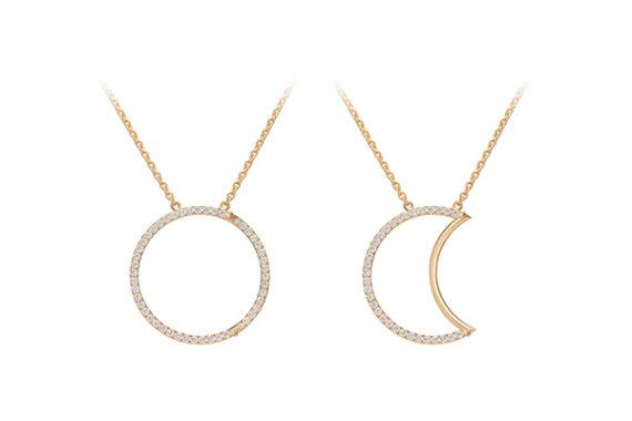 Caspita Helios-Luna necklace 18k yellow gold diamonds 30 mm
