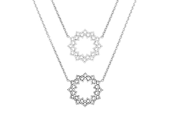 Caspita Silhouette Sahasrara necklace white gold diamonds