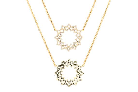 Caspita Silhouette Sahasrara necklace yellow gold diamonds