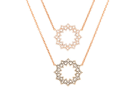 Caspita Silhouette Sahasrara necklace rose gold diamonds