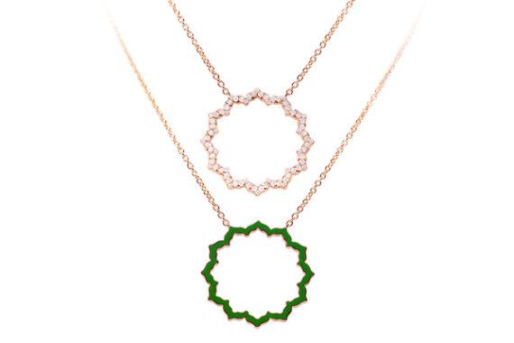 Caspita Silhouette Anahata necklace rose gold diamonds