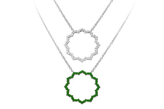 Caspita Silhouette Anahata necklace white gold diamonds